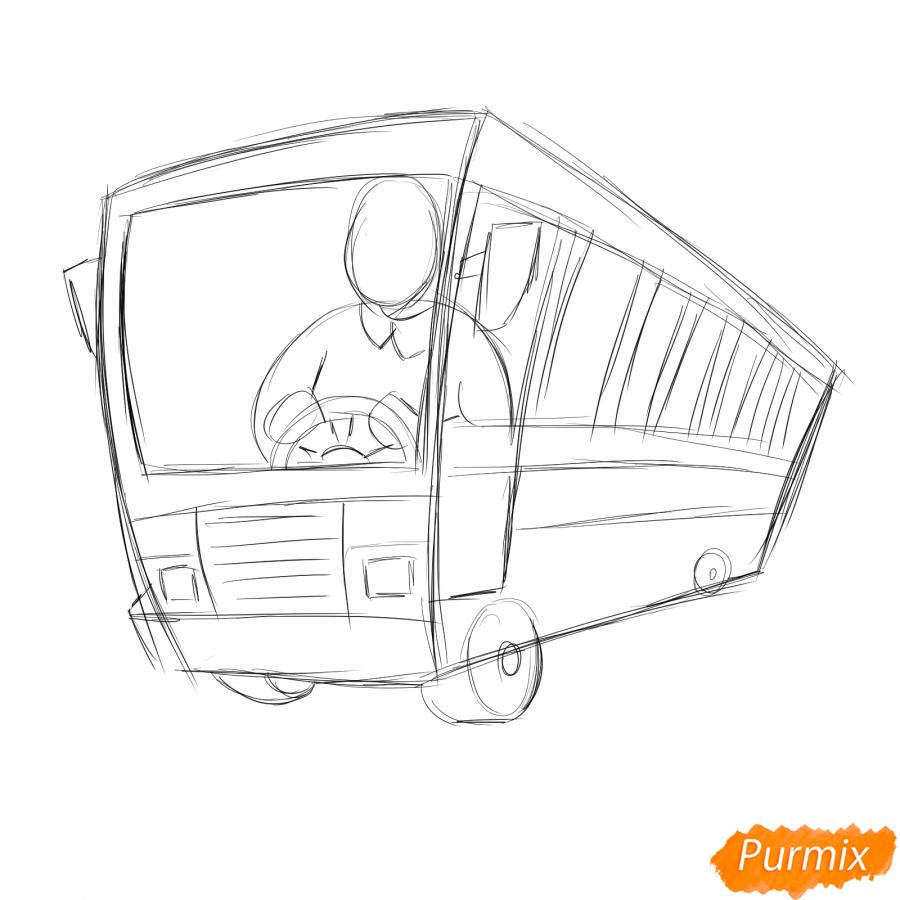Рисуем водителя автобуса - шаг 3