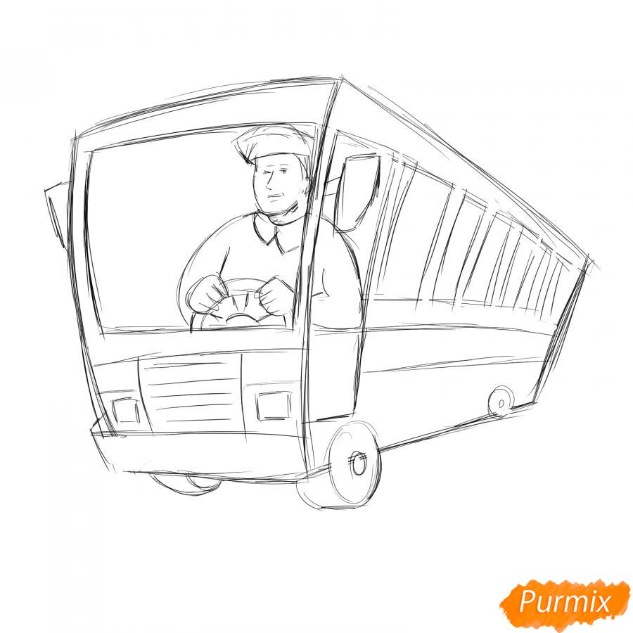 Рисуем водителя автобуса - шаг 4
