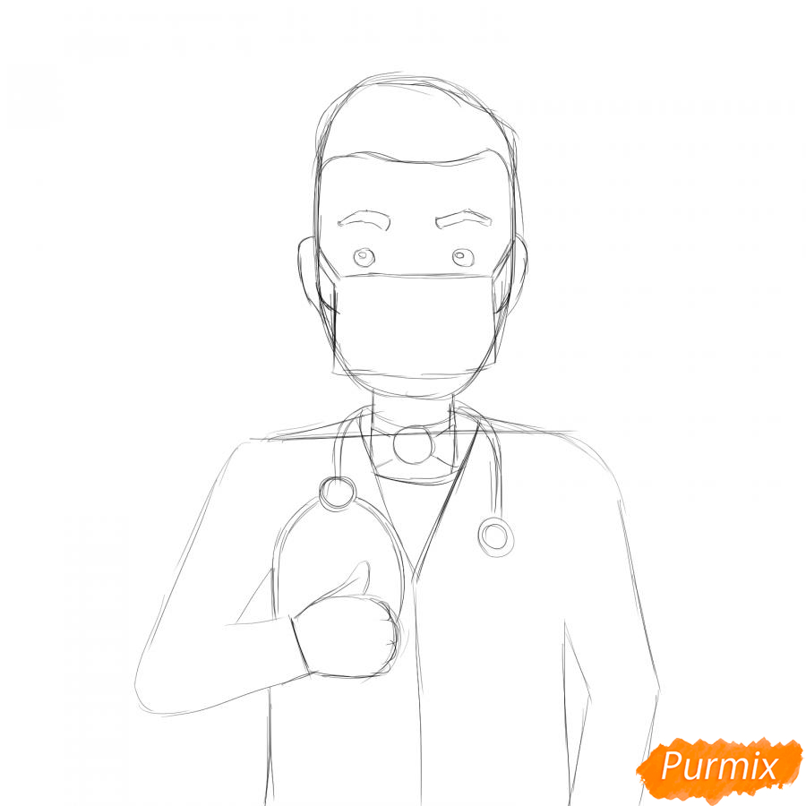 Рисуем врача в маске - шаг 4