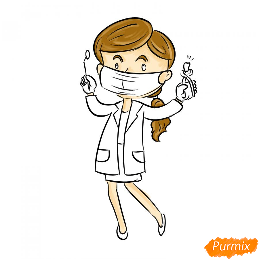 Рисуем зубного врача женщину - шаг 6