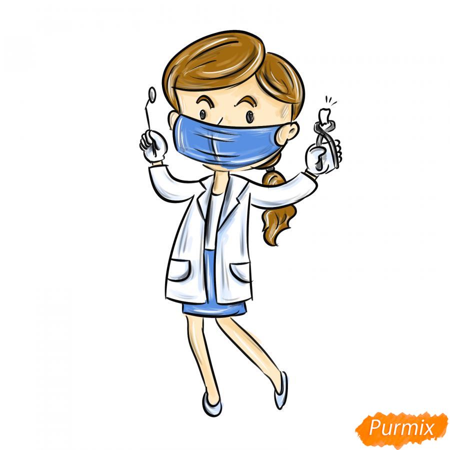 Рисуем зубного врача женщину - шаг 8
