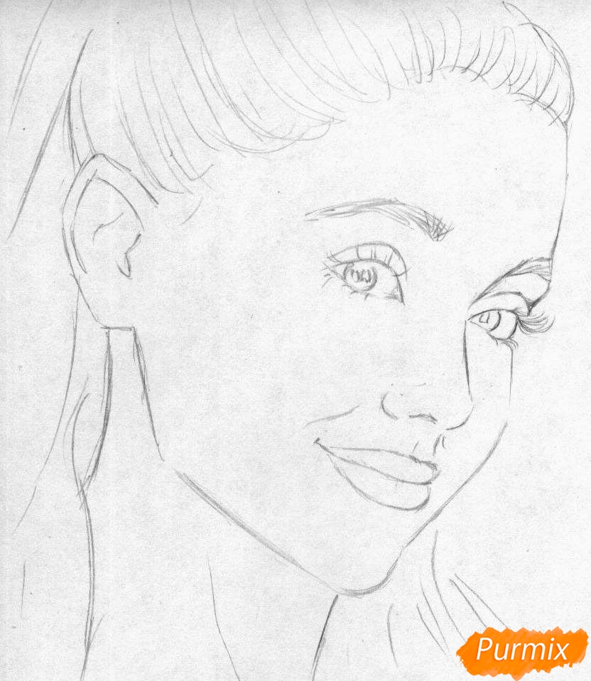 Рисуем портрет Арианы Гранде  и чёрной ручкой - шаг 1