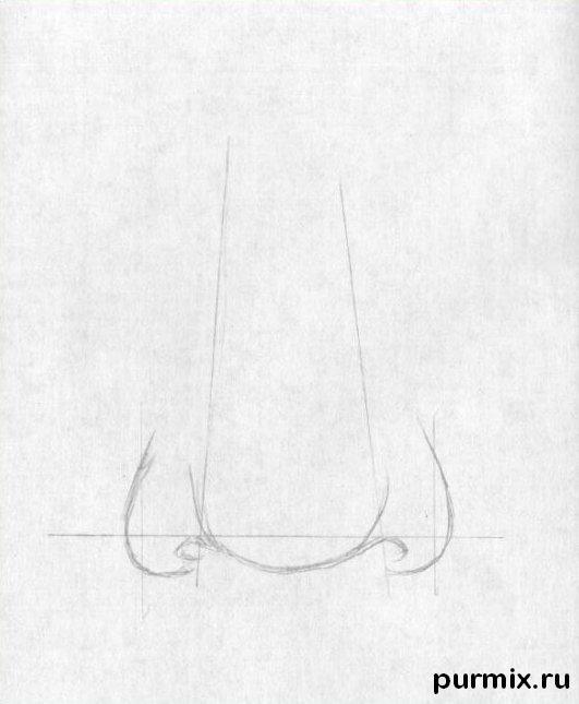 Рисуем человеческий нос простым - шаг 2