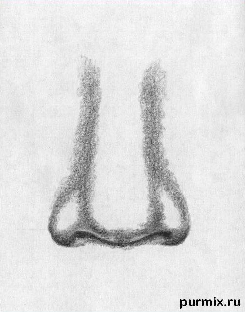 Рисуем человеческий нос простым - шаг 4