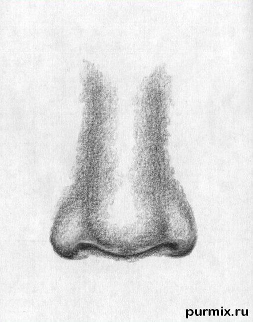 Рисуем человеческий нос простым - шаг 5