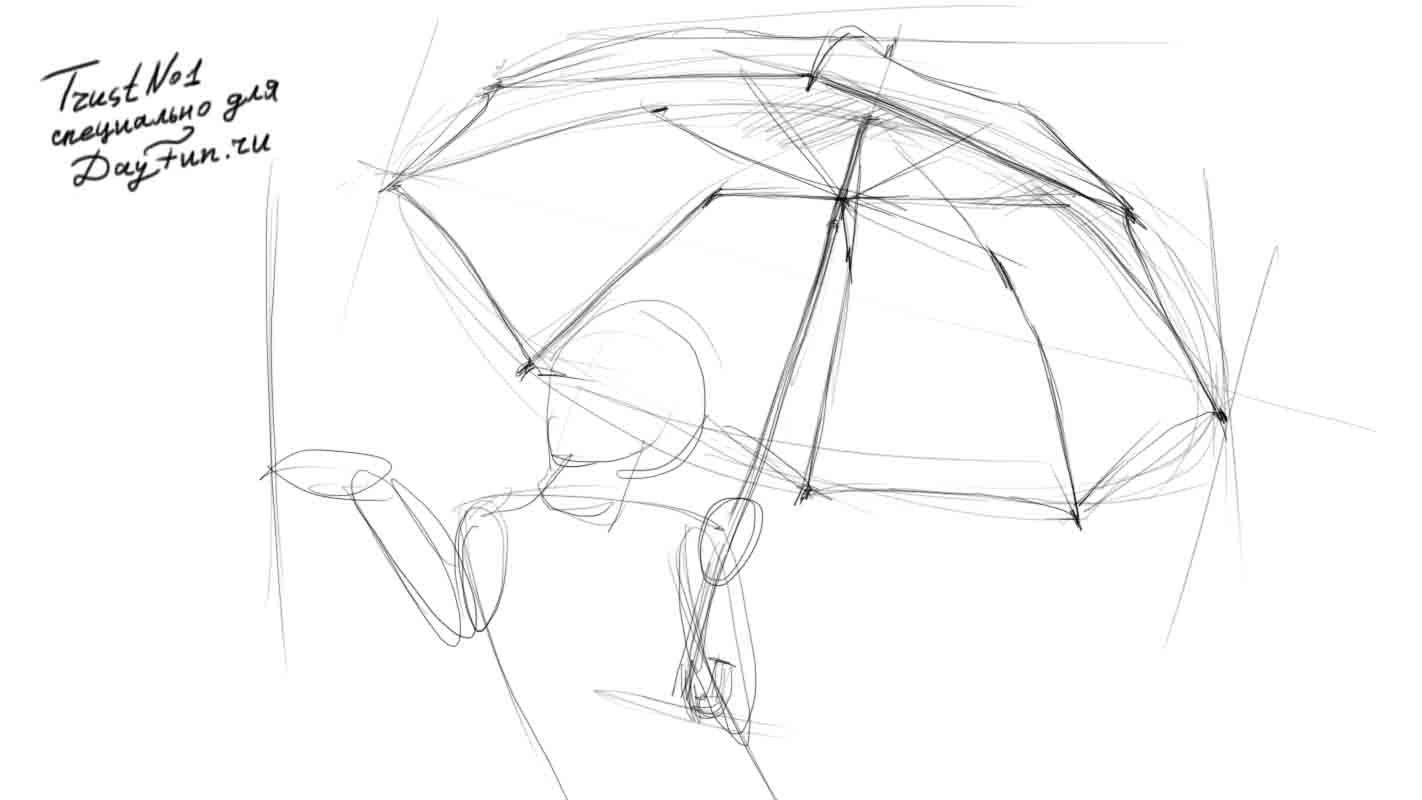 Рисуем девочку с зонтиком на бумаге