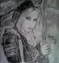 Девушку-Воина карандашом