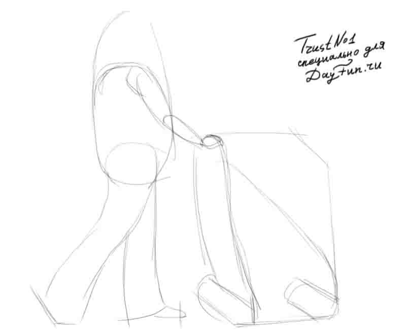 Рисуем Девушку с коляской