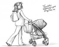 Девушку с коляской карандашом