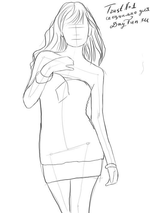 Рисуем девушку в юбке