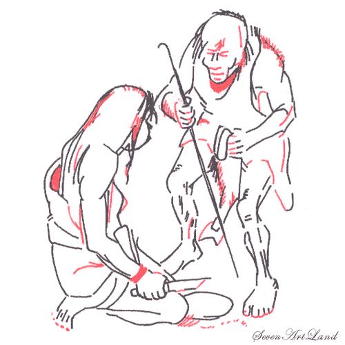 Рисуем двух неандертальцев