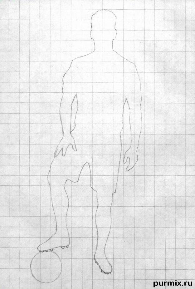 Рисуем футболиста Серхио Рамоса простым - шаг 1