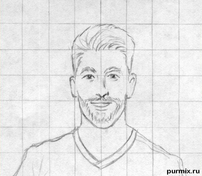 Рисуем футболиста Серхио Рамоса простым - шаг 2
