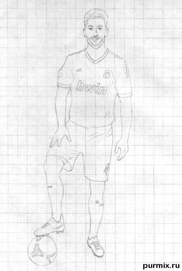 Рисуем футболиста Серхио Рамоса простым - шаг 3