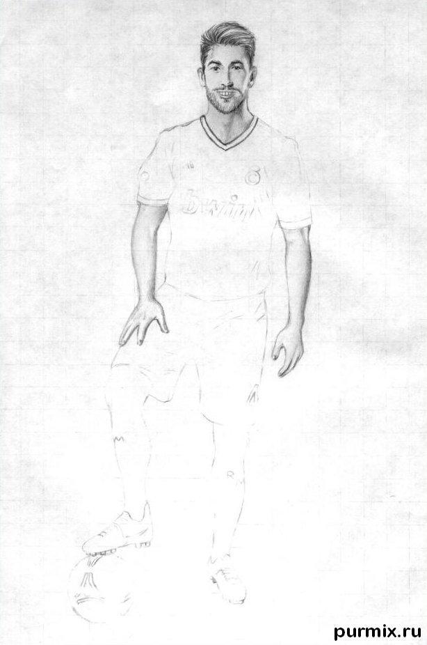 Рисуем футболиста Серхио Рамоса простым - шаг 4