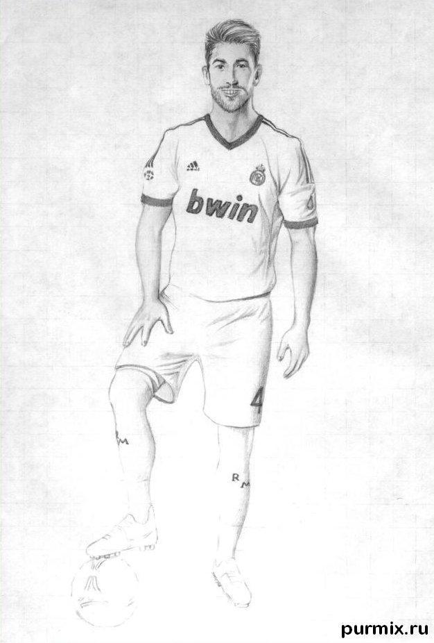 Рисуем футболиста Серхио Рамоса простым - шаг 5