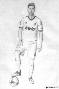 футболиста Серхио Рамоса простым карандашом