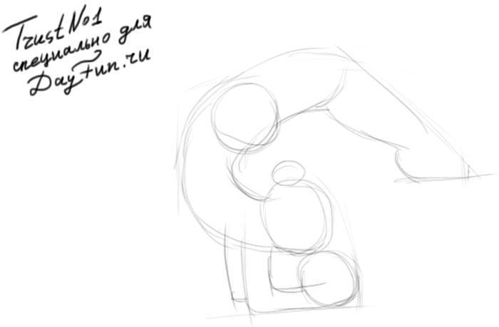 Рисуем гимнастку - шаг 1