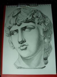 Фото гипсовую голову Антиноя карандашом