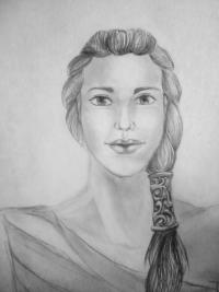 лицо (портрет) девушки амазонки карандашом