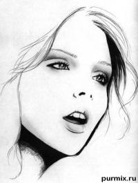 Фото лицо девушки простым карандашом