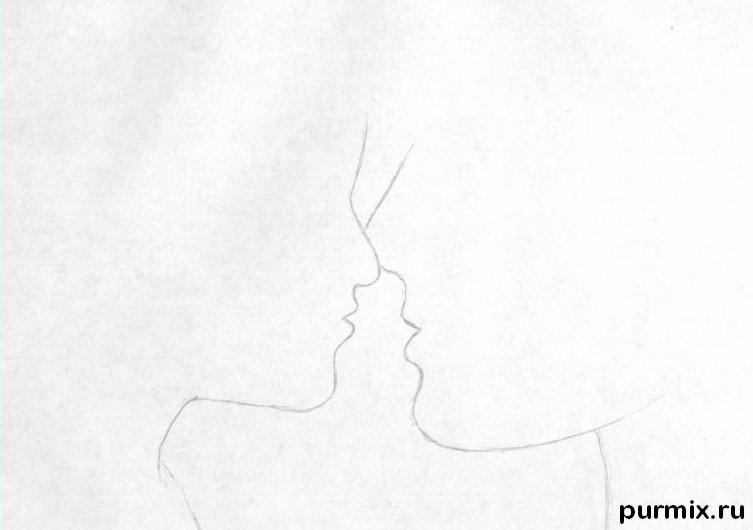 Рисуем маму с дочкой простым - шаг 1