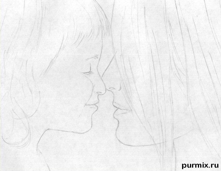 Рисуем маму с дочкой простым - шаг 3