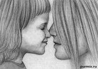 маму с дочкой карандашом