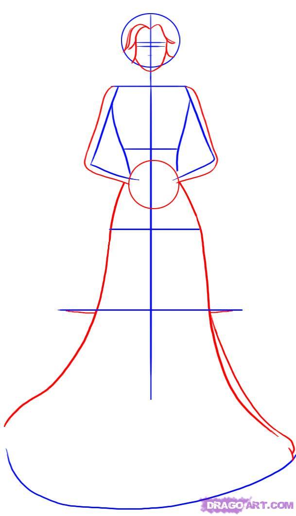Рисуем невесту - шаг 2