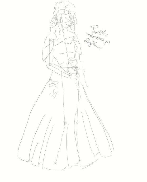 Рисуем невесту в свадебном платье - шаг 3