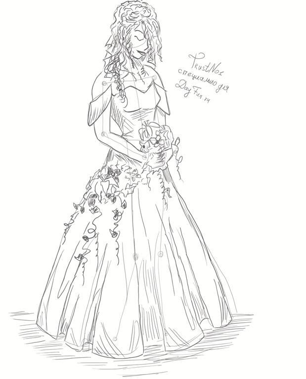 Рисуем невесту в свадебном платье - шаг 4