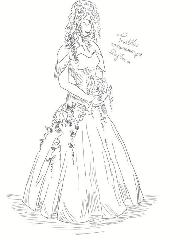 Рисуем невесту в свадебном платье - шаг 5