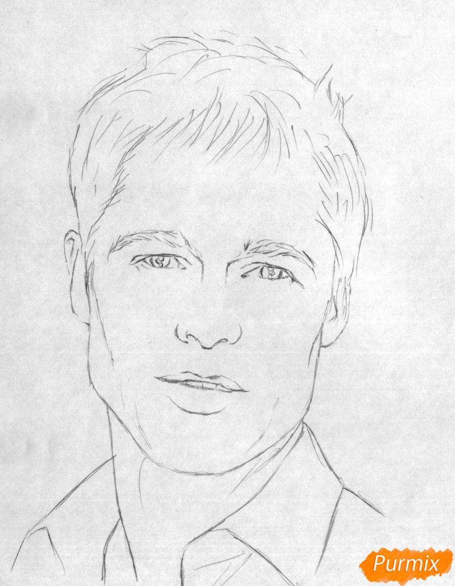 Рисуем портрет Брэда Питта карандашами - шаг 1