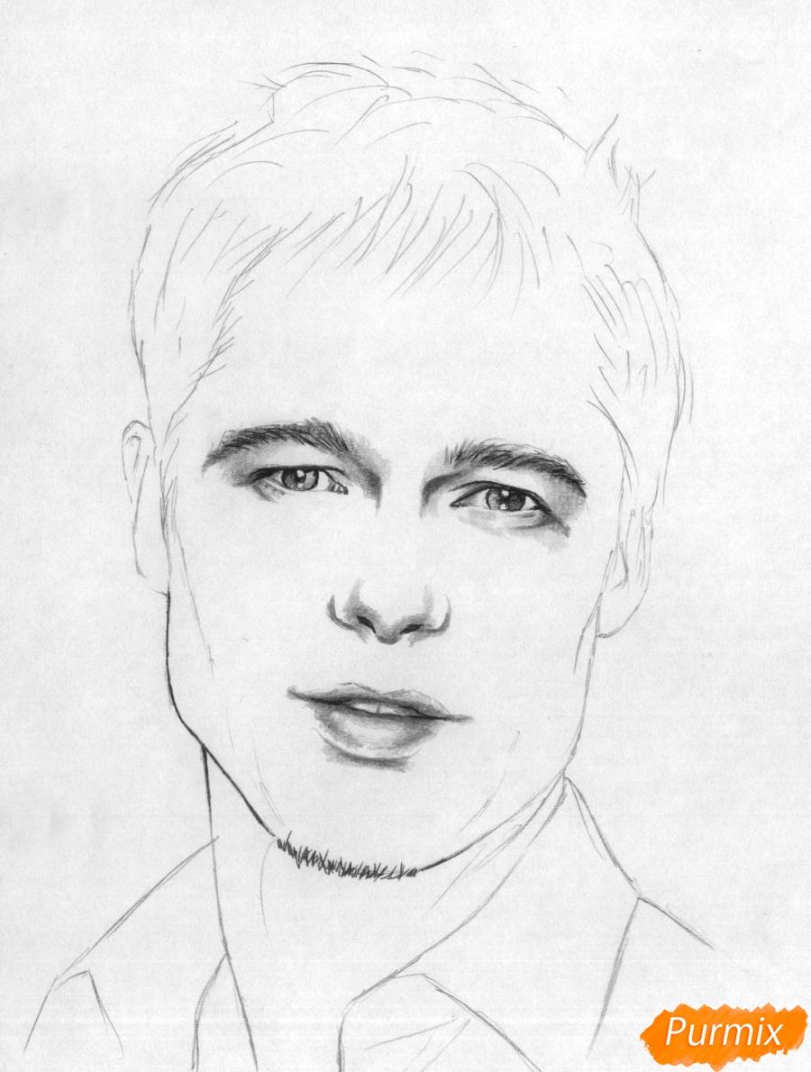 Рисуем портрет Брэда Питта карандашами - шаг 3