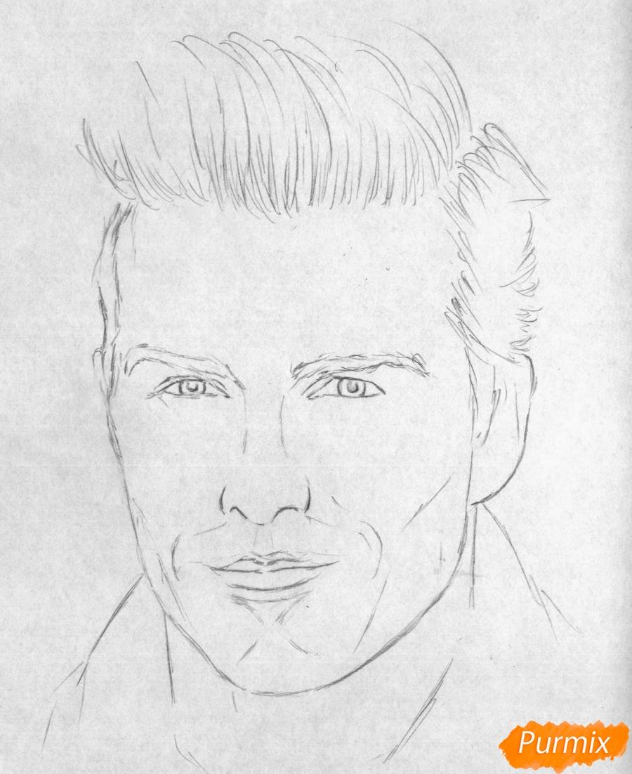 Рисуем портрет Дэвида Бекхэма карандашами и ручкой - шаг 1