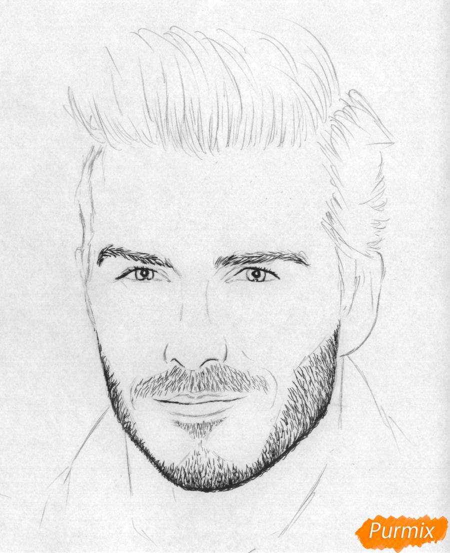 Рисуем портрет Дэвида Бекхэма карандашами и ручкой - шаг 2