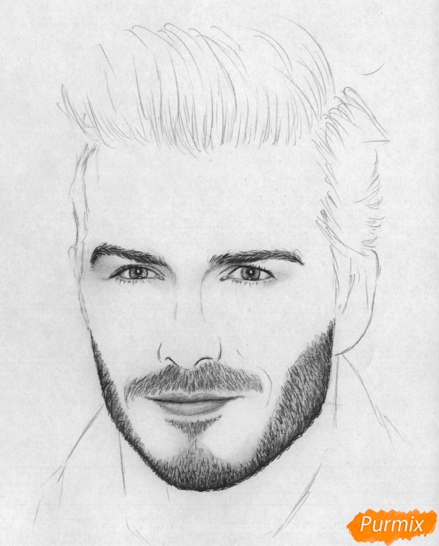 Рисуем портрет Дэвида Бекхэма карандашами и ручкой - шаг 3