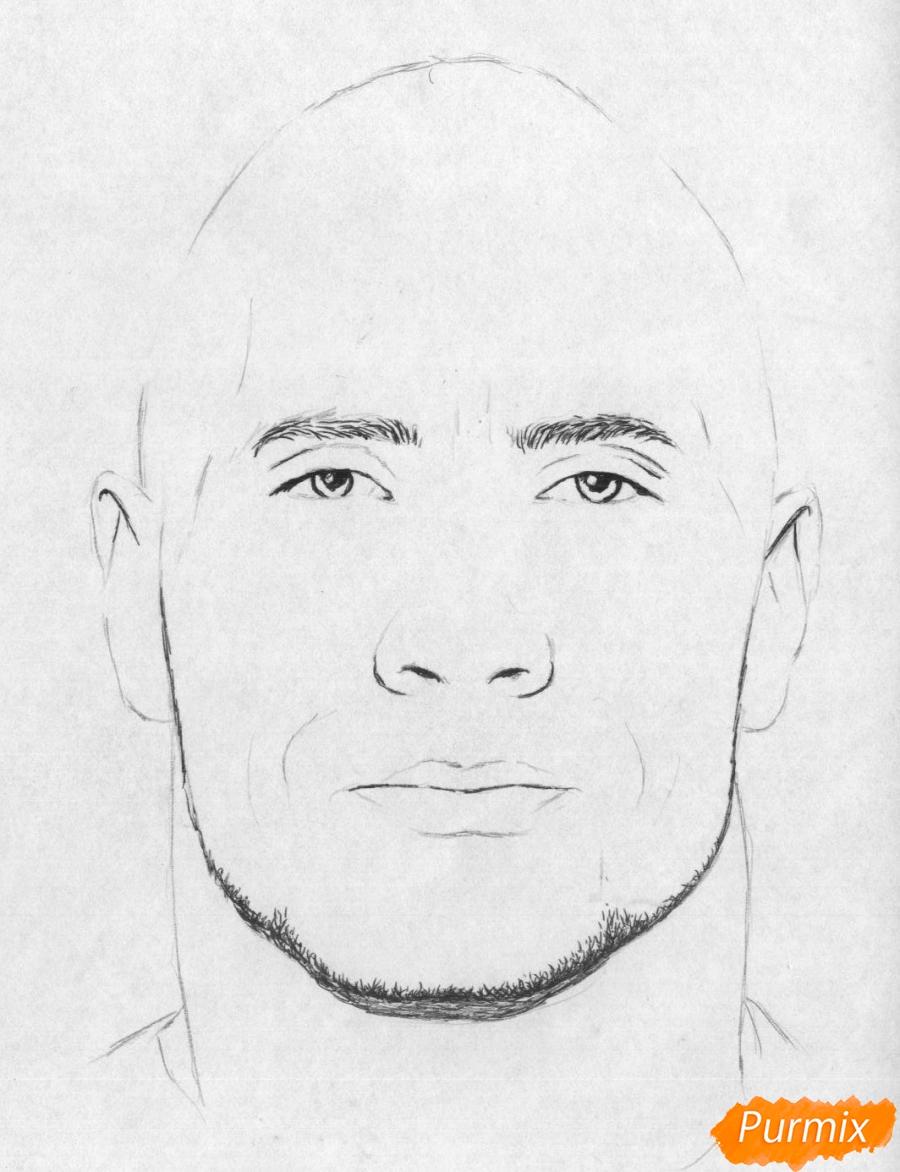 Рисуем портрет Дуэйн Джонсон карандашами и чёрной ручкой - шаг 2