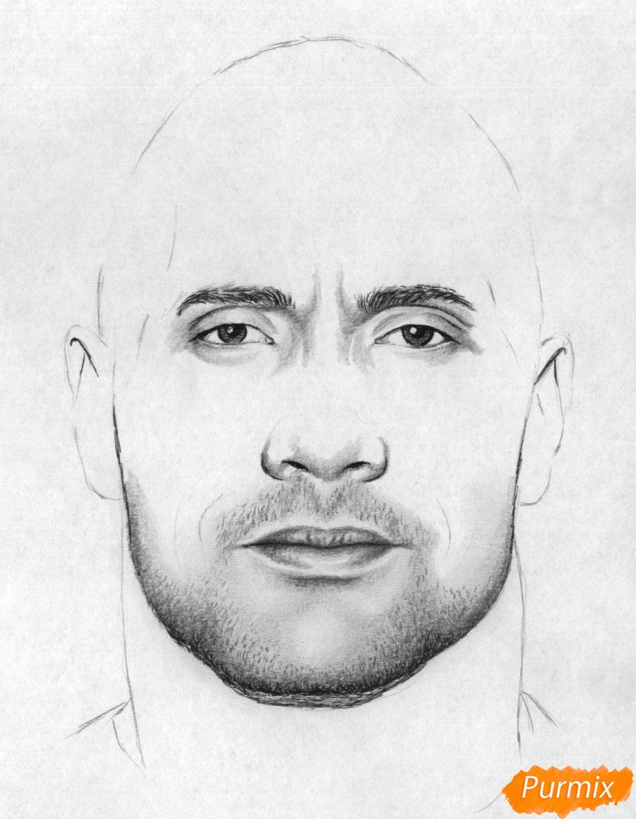 Рисуем портрет Дуэйн Джонсон карандашами и чёрной ручкой - шаг 3