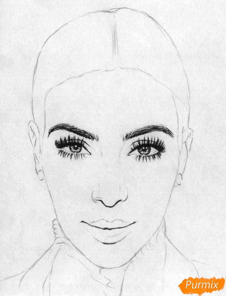 Рисуем портрет Ким Кардашян карандашами и черной ручкой - шаг 2