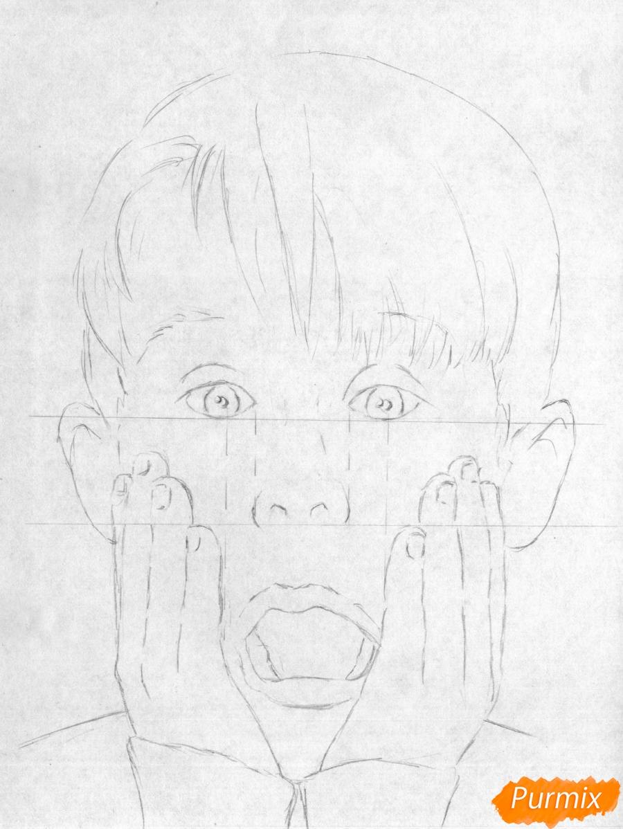 Рисуем портрет Маколея Калкина из фильма Один дома - шаг 2