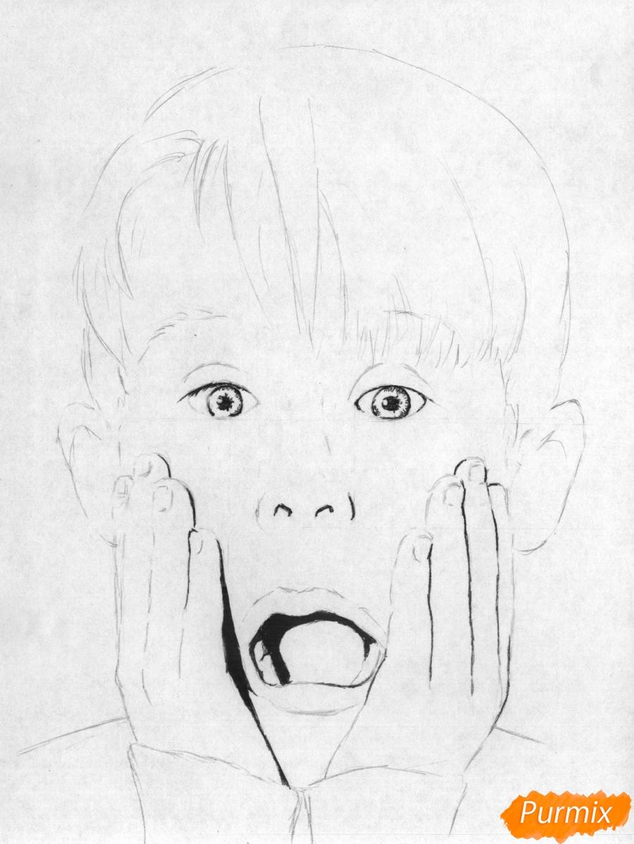 Рисуем портрет Маколея Калкина из фильма Один дома - шаг 3