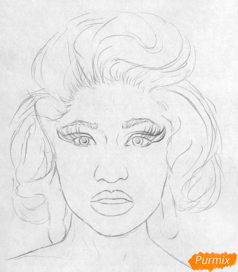 Рисуем портрет Ники Минаж карандашами и ручкой - шаг 1