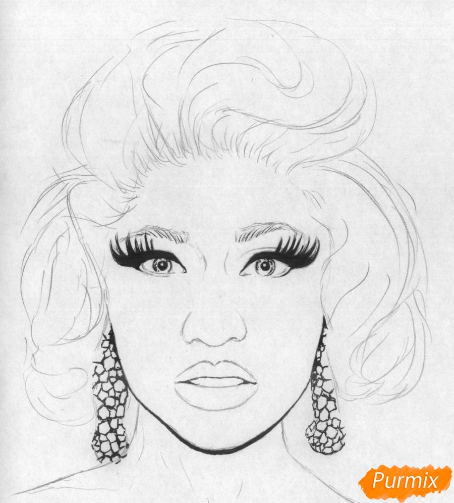 Рисуем портрет Ники Минаж карандашами и ручкой - шаг 2