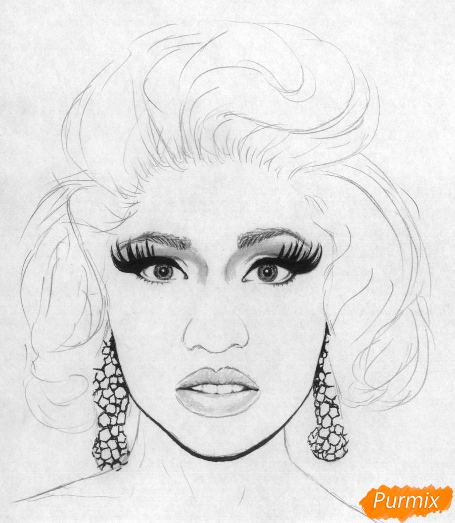 Рисуем портрет Ники Минаж карандашами и ручкой - шаг 3