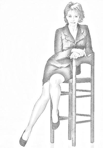 Рисуем женщину сидящую на стуле