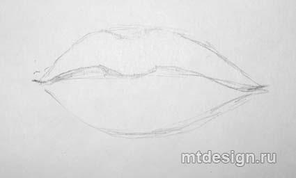 Как правильно нарисовать пухлые губы - шаг 2
