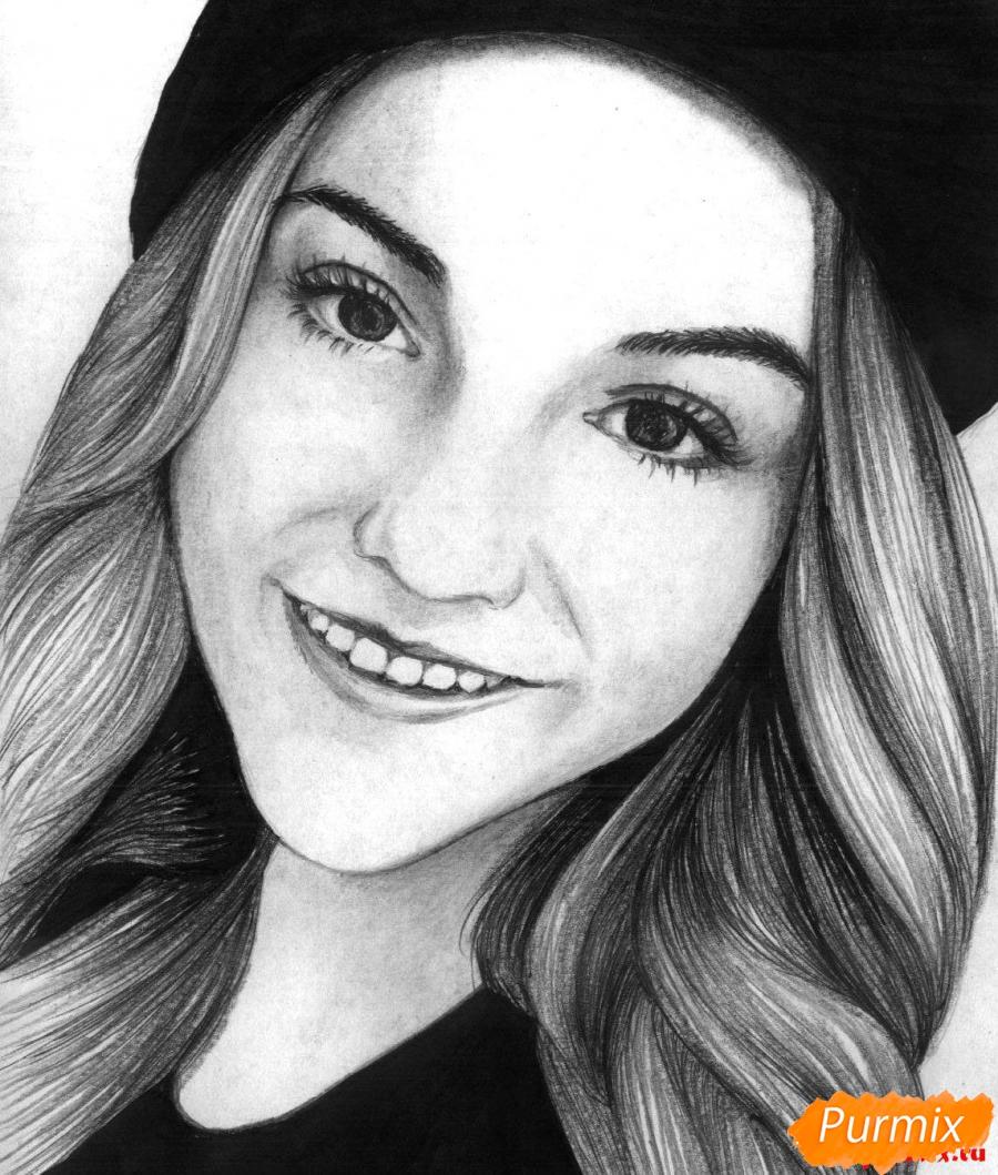 Рисуем портрет Марьяны Ро простым - шаг 5
