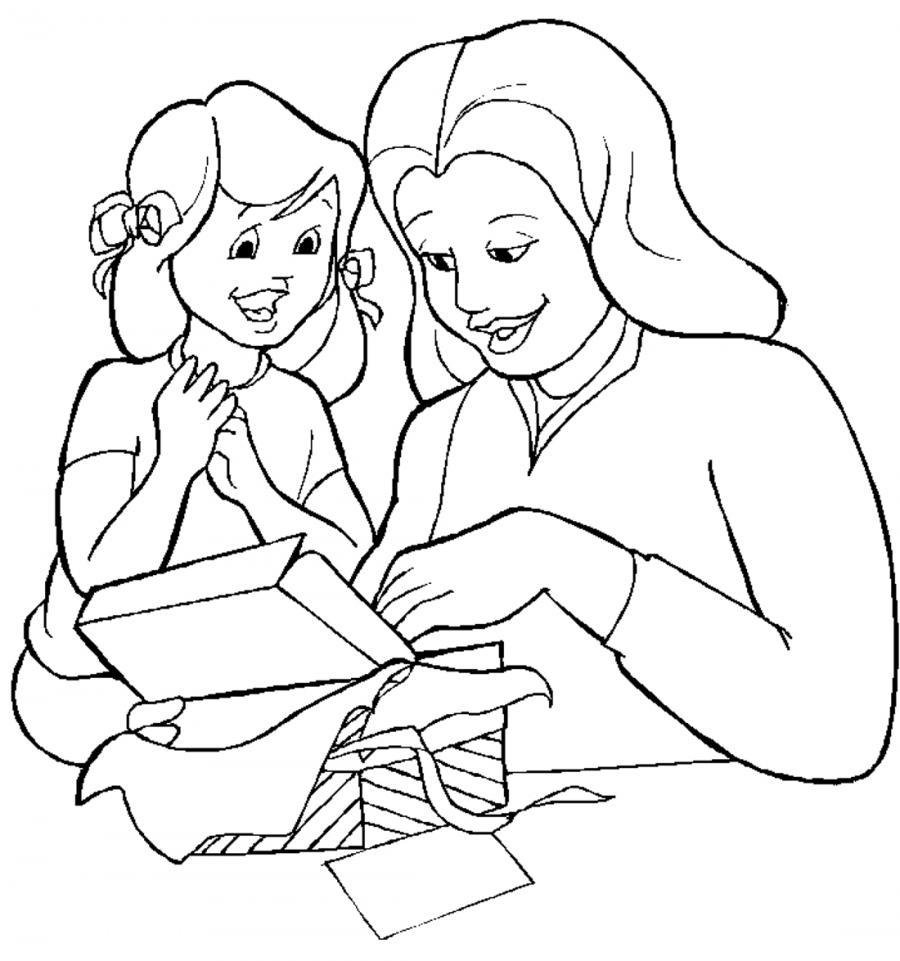 Мама с дочкой рисунки для срисовки - шаг 1