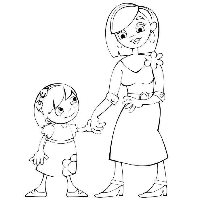 Мама с дочкой рисунки для срисовки - шаг 3